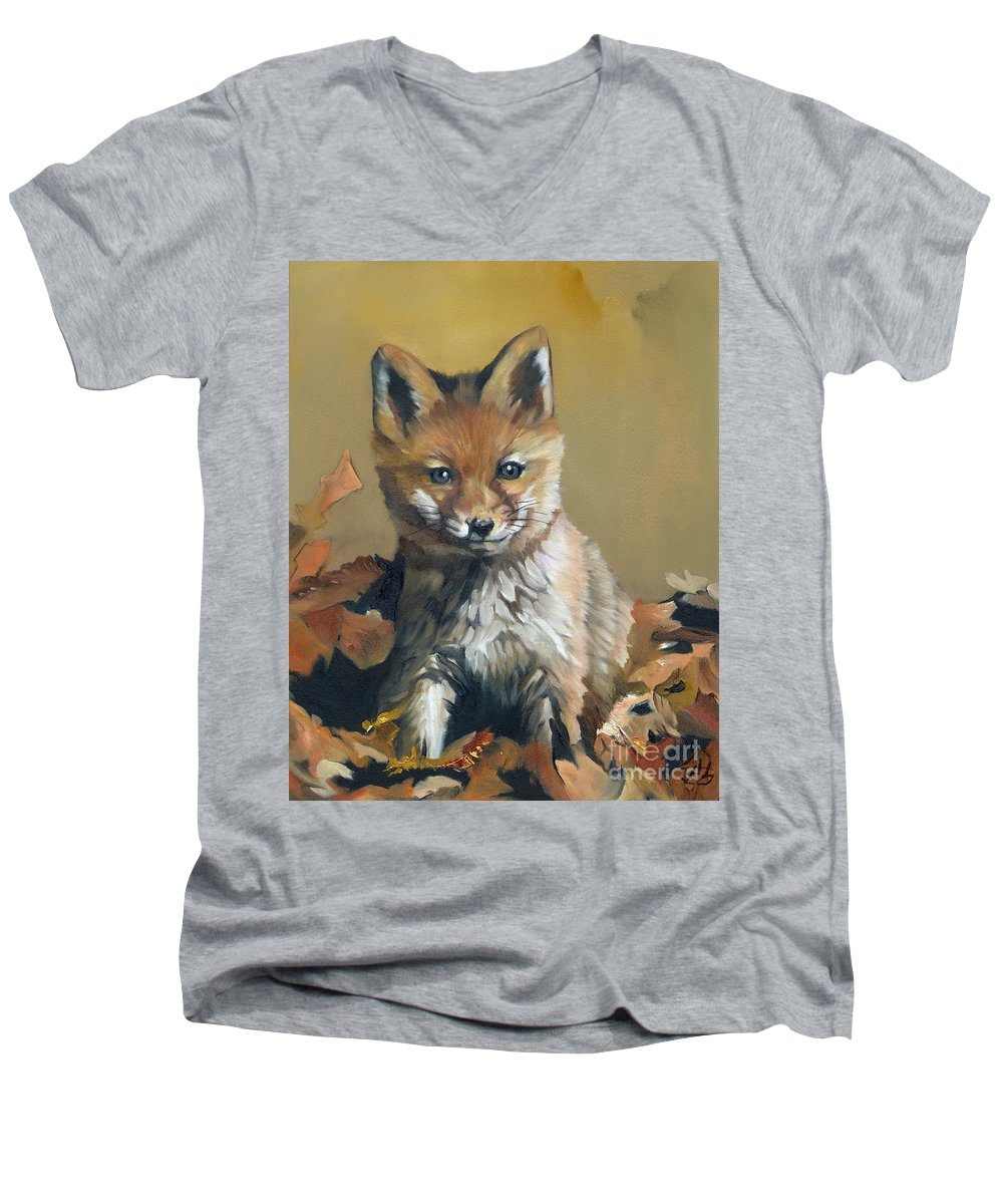 Fox Men's V-Neck T-Shirt featuring the painting Once Upon A Time by J W Baker
