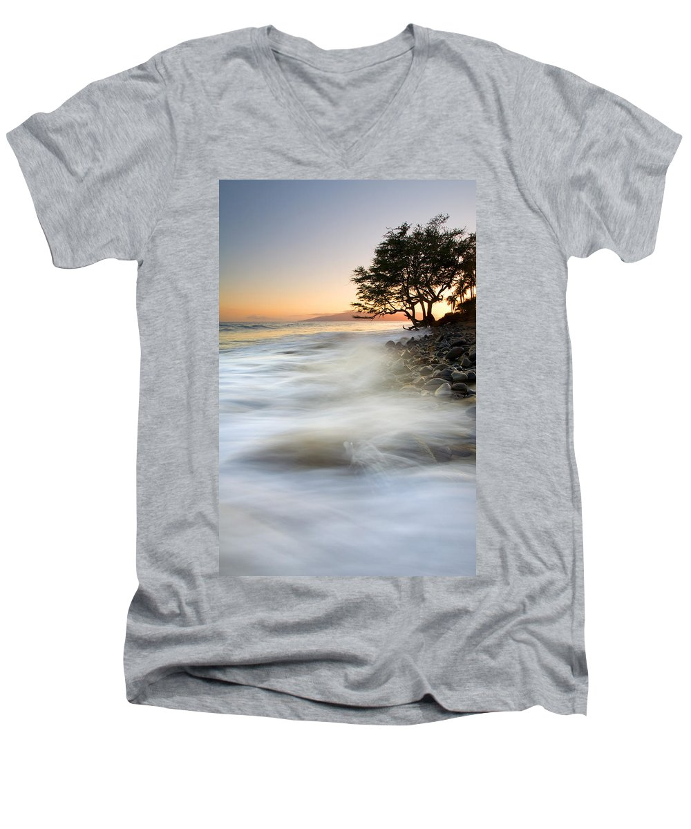 Sunset Men's V-Neck T-Shirt featuring the photograph One Against The Tides by Mike Dawson
