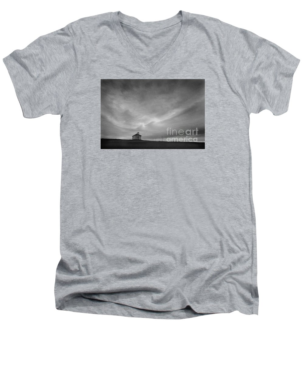 Landscape Men's V-Neck T-Shirt featuring the photograph One Room Schoolhouse by Michael Ziegler