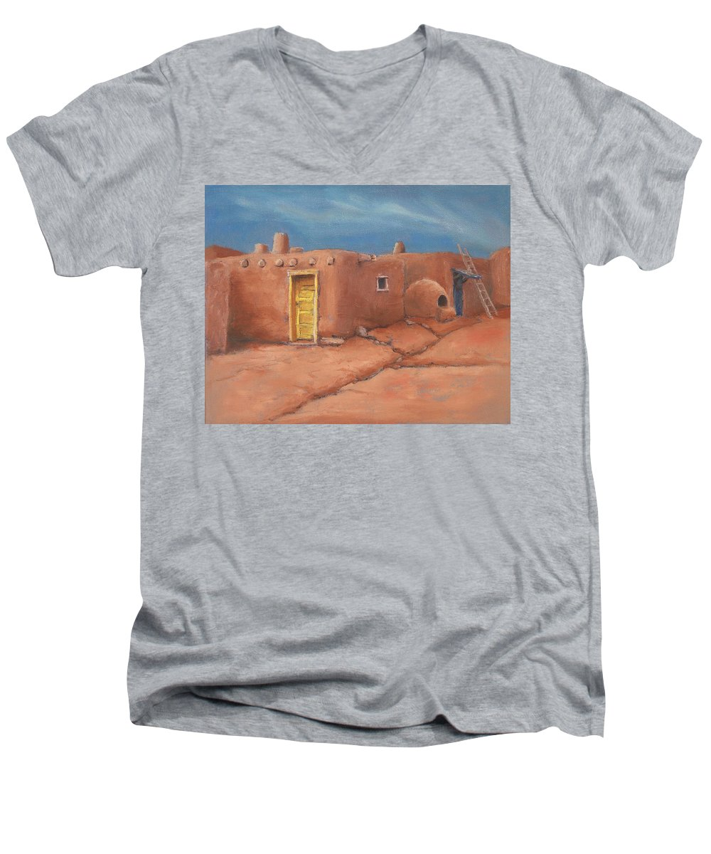 Taos Men's V-Neck T-Shirt featuring the painting One Yellow Door by Jerry McElroy