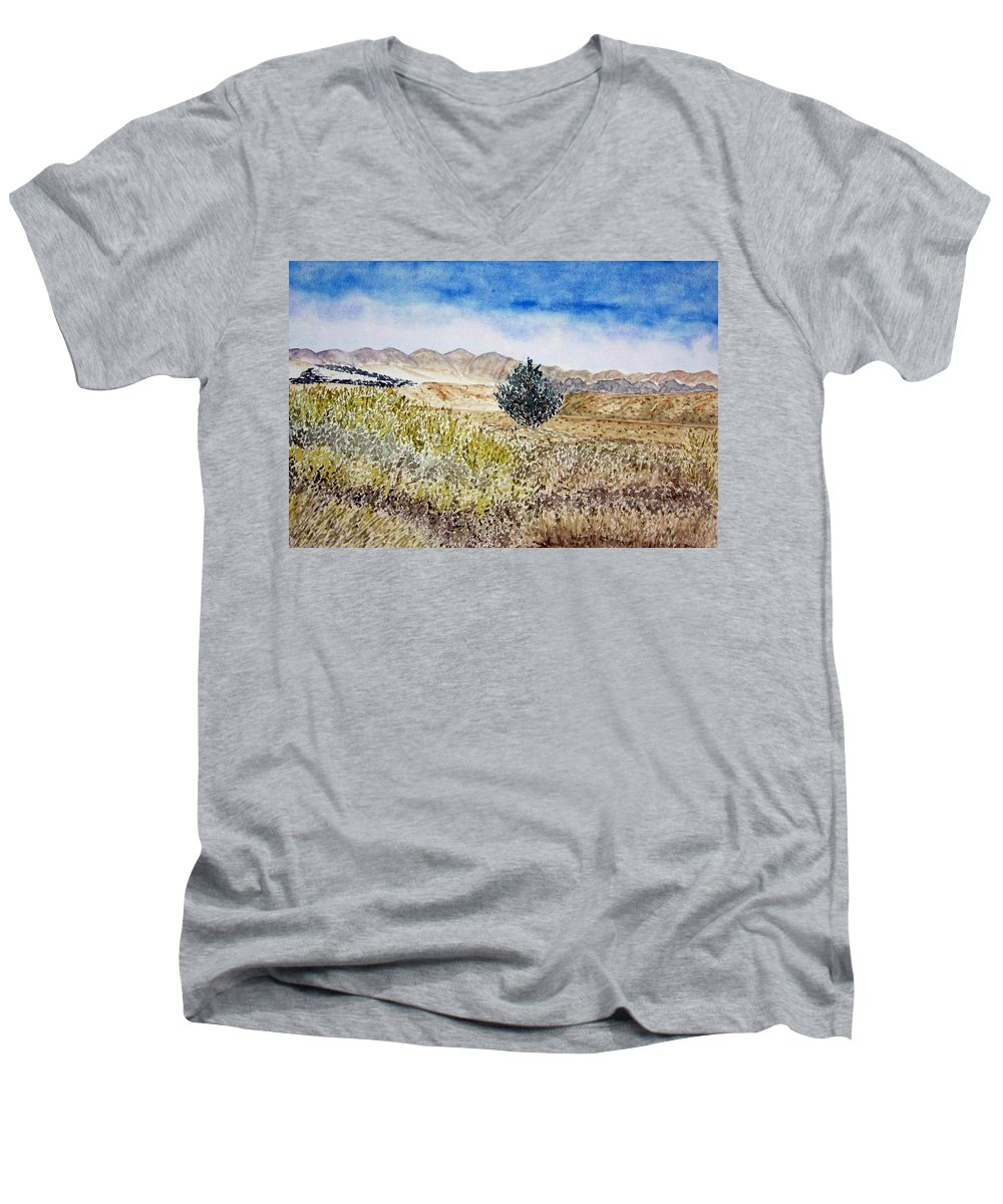 Desert Art Men's V-Neck T-Shirt featuring the painting Onyo National Forest by Larry Wright