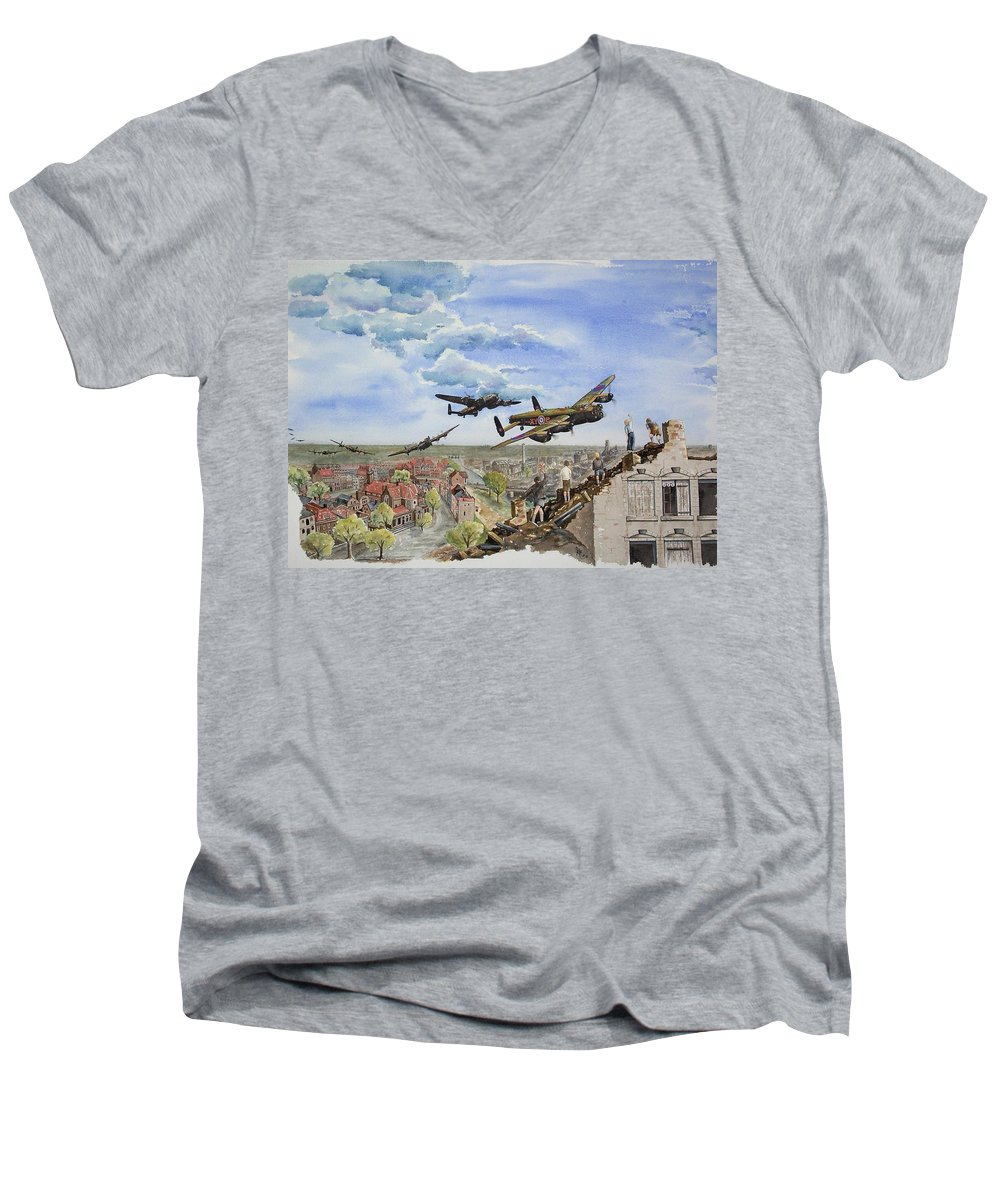 Lancaster Bomber Men's V-Neck T-Shirt featuring the painting Operation Manna I by Gale Cochran-Smith
