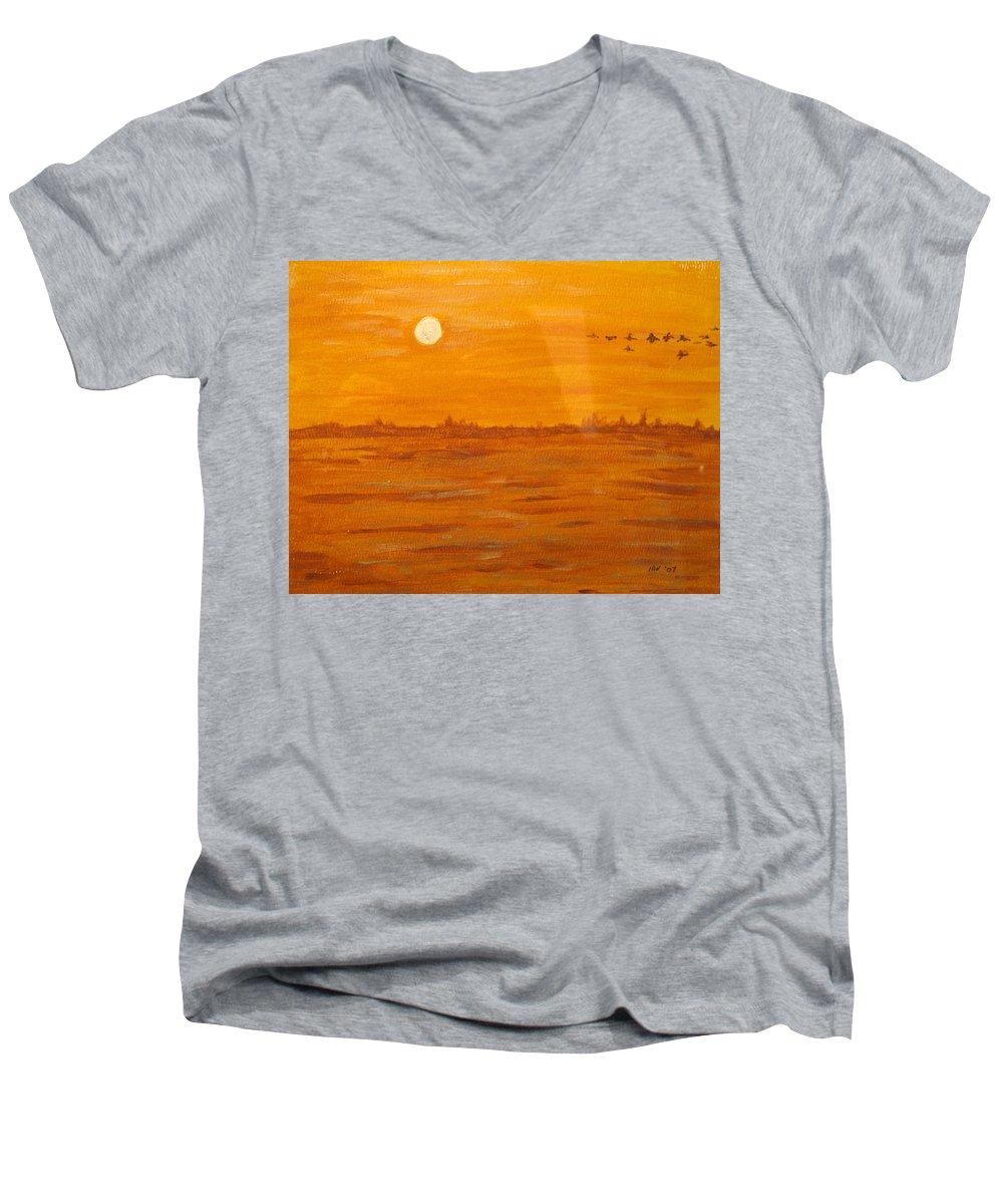 Orange Men's V-Neck T-Shirt featuring the painting Orange Ocean by Ian MacDonald