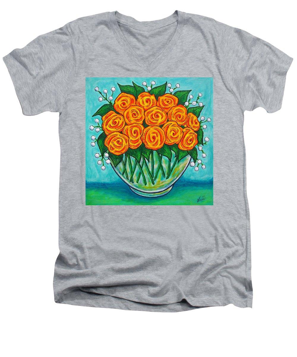 Orange Men's V-Neck T-Shirt featuring the painting Orange Passion by Lisa Lorenz