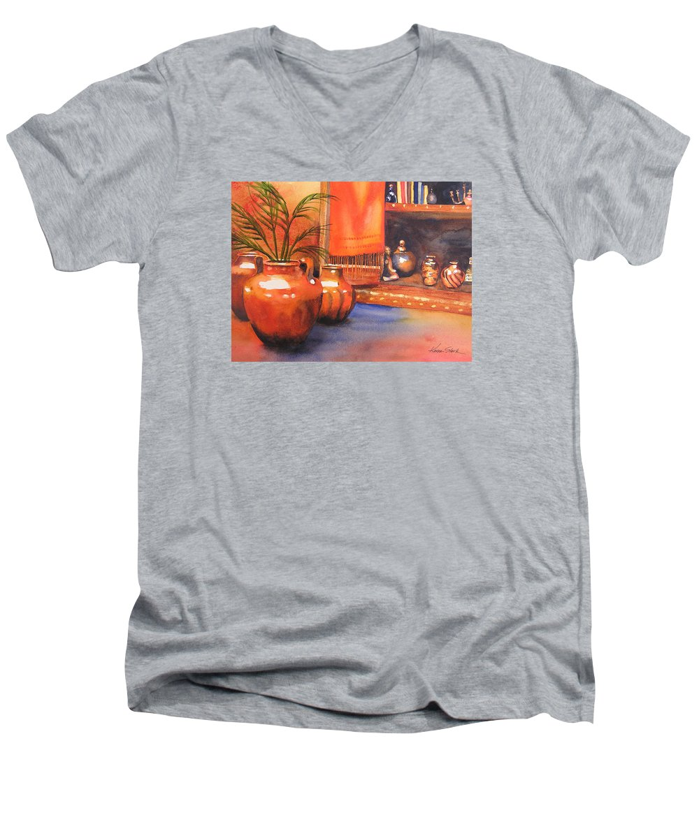 Pottery Men's V-Neck T-Shirt featuring the painting Orange Scarf by Karen Stark