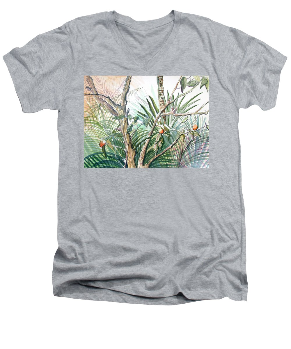 Fruit Men's V-Neck T-Shirt featuring the painting Orange Tree by Mindy Newman