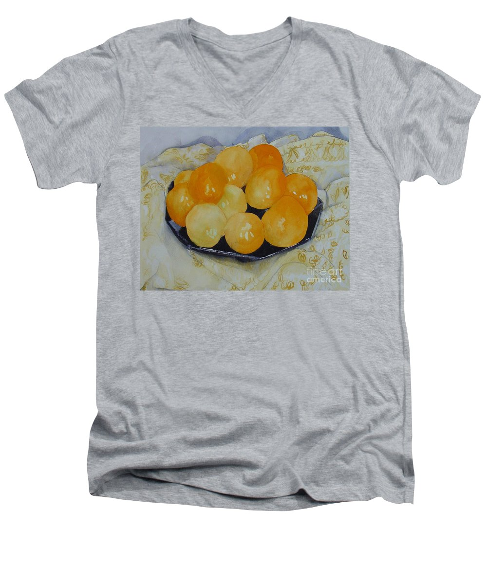 Still Life Watercolor Original Leilaatkinson Oranges Men's V-Neck T-Shirt featuring the painting Oranges by Leila Atkinson