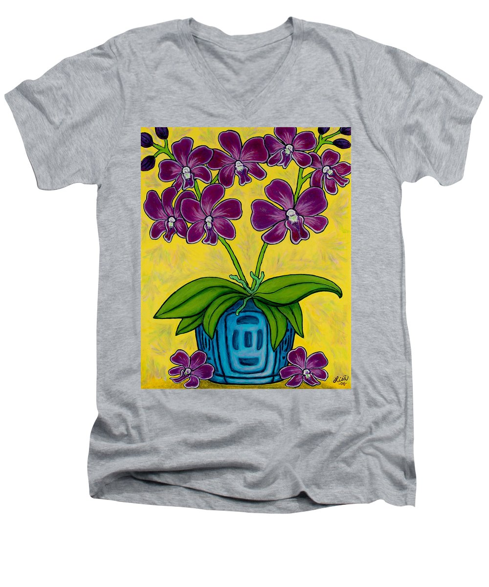 Orchids Men's V-Neck T-Shirt featuring the painting Orchid Delight by Lisa Lorenz