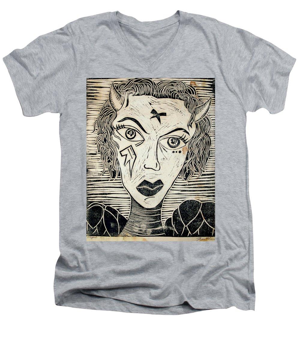 Block Print Men's V-Neck T-Shirt featuring the print Original Devil Block Print by Thomas Valentine