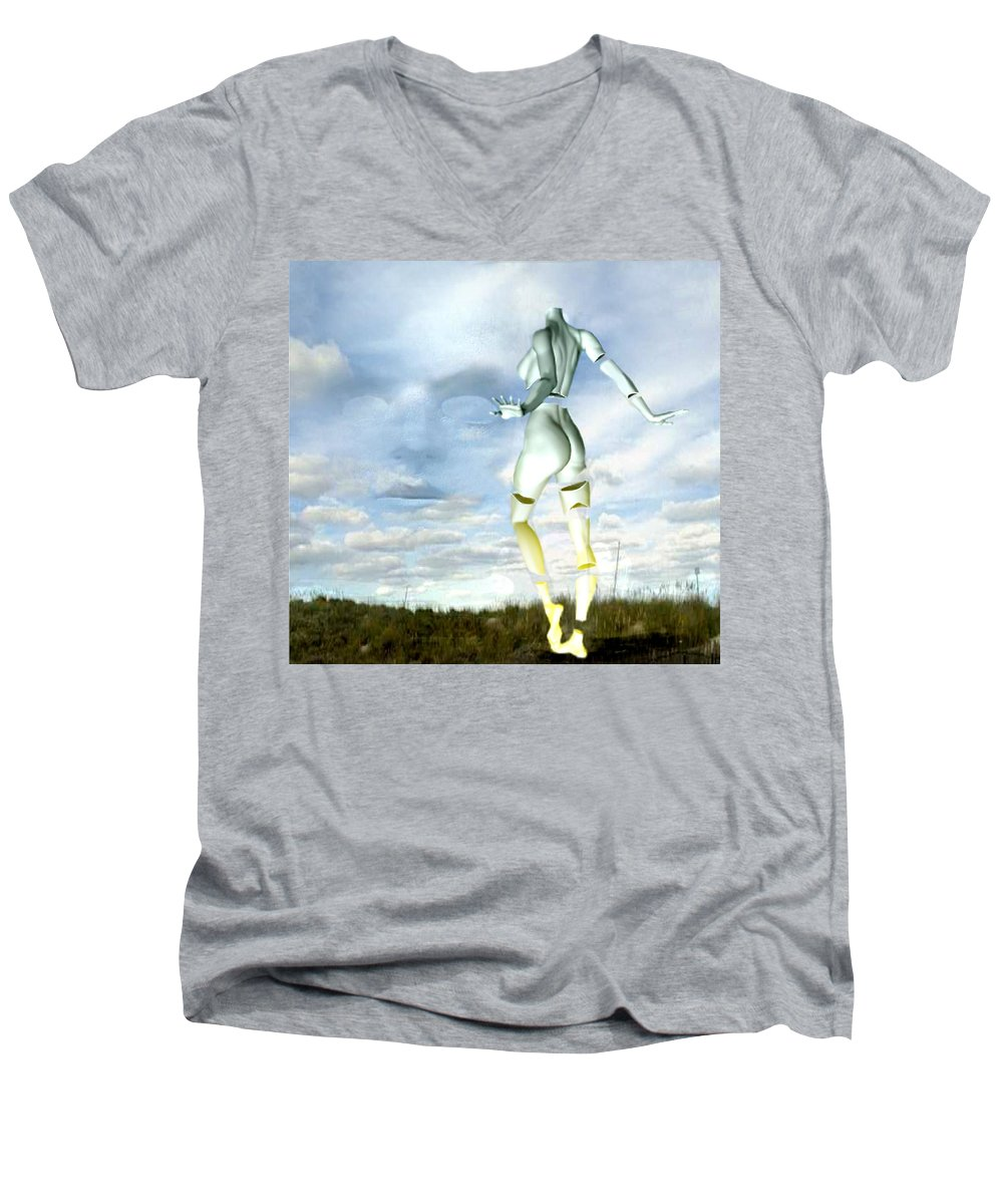 Sky Naked Woman Surreal Dance Men's V-Neck T-Shirt featuring the digital art Out Of My Mind... by Veronica Jackson
