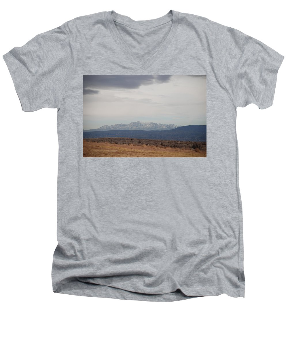 Mountains Men's V-Neck T-Shirt featuring the photograph Overcast On The Sandias by Rob Hans