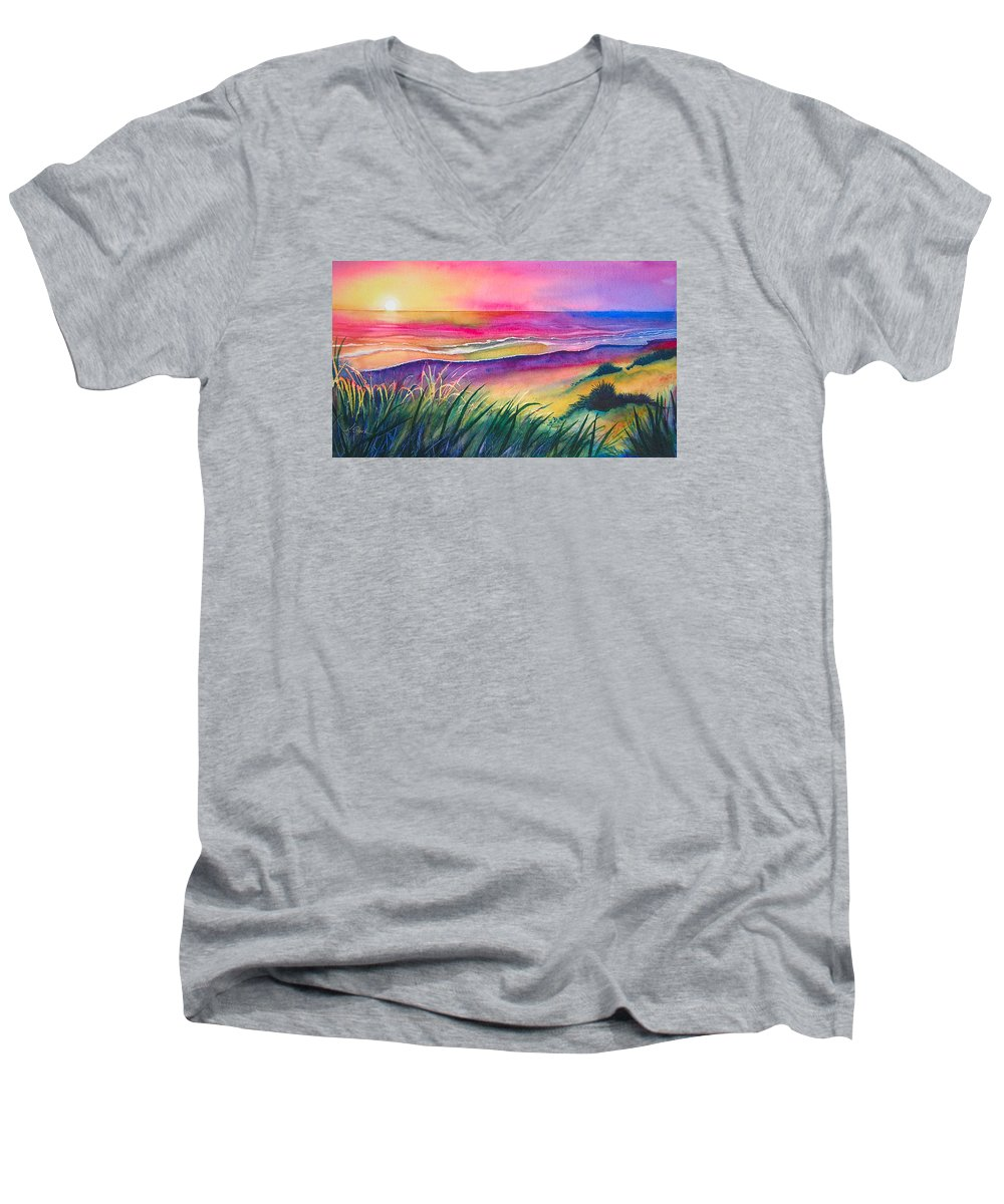 Pacific Men's V-Neck T-Shirt featuring the painting Pacific Evening by Karen Stark