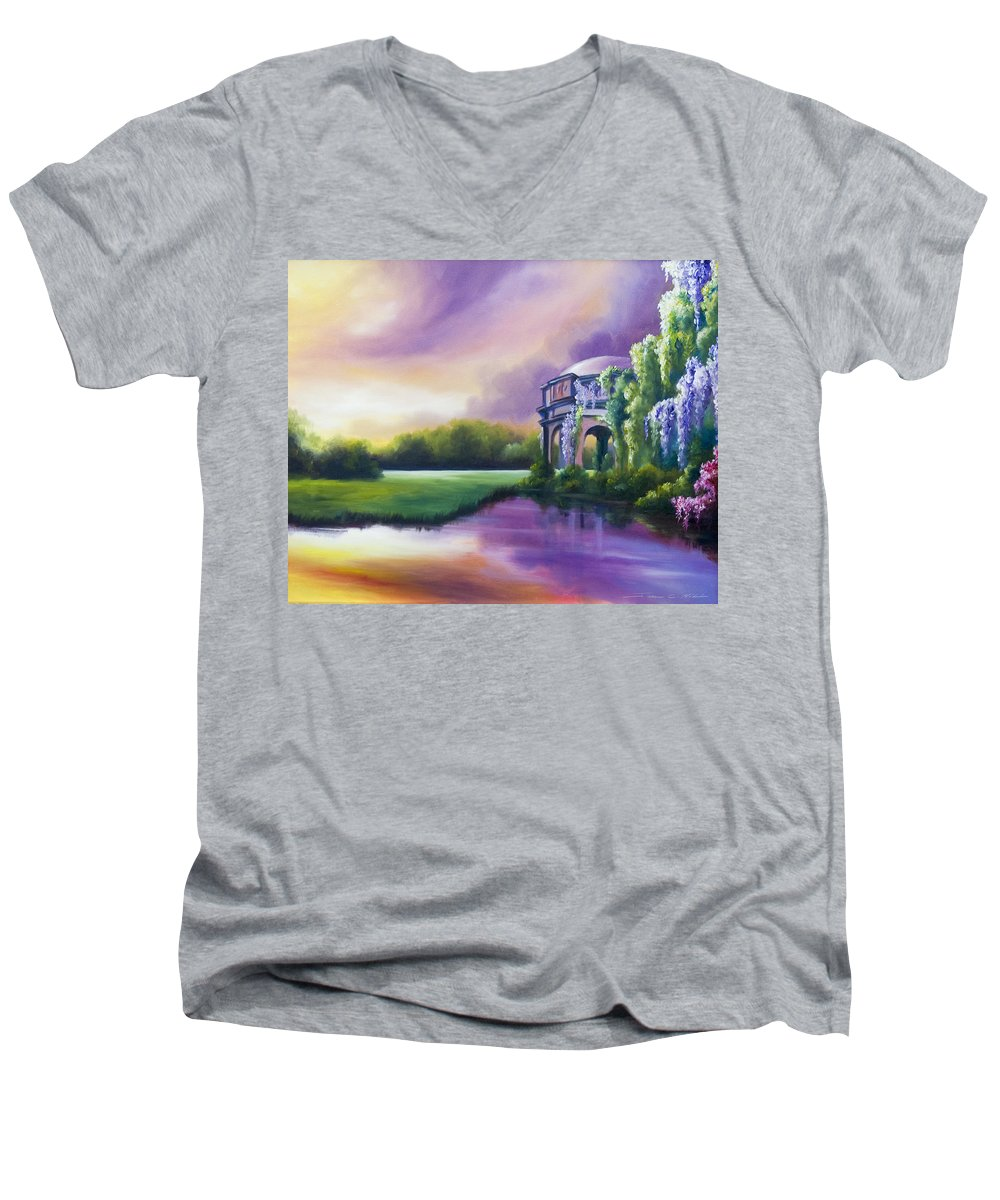 Marsh Men's V-Neck T-Shirt featuring the painting Palace Of The Arts by James Christopher Hill