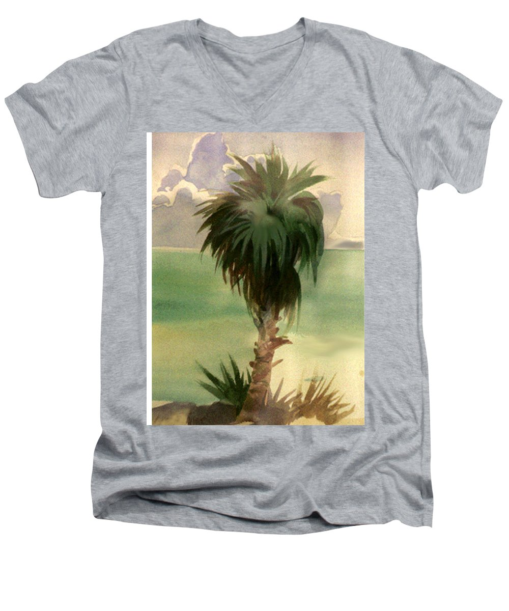 Palm Men's V-Neck T-Shirt featuring the painting Palm At Horseshoe Cove by Neal Smith-Willow