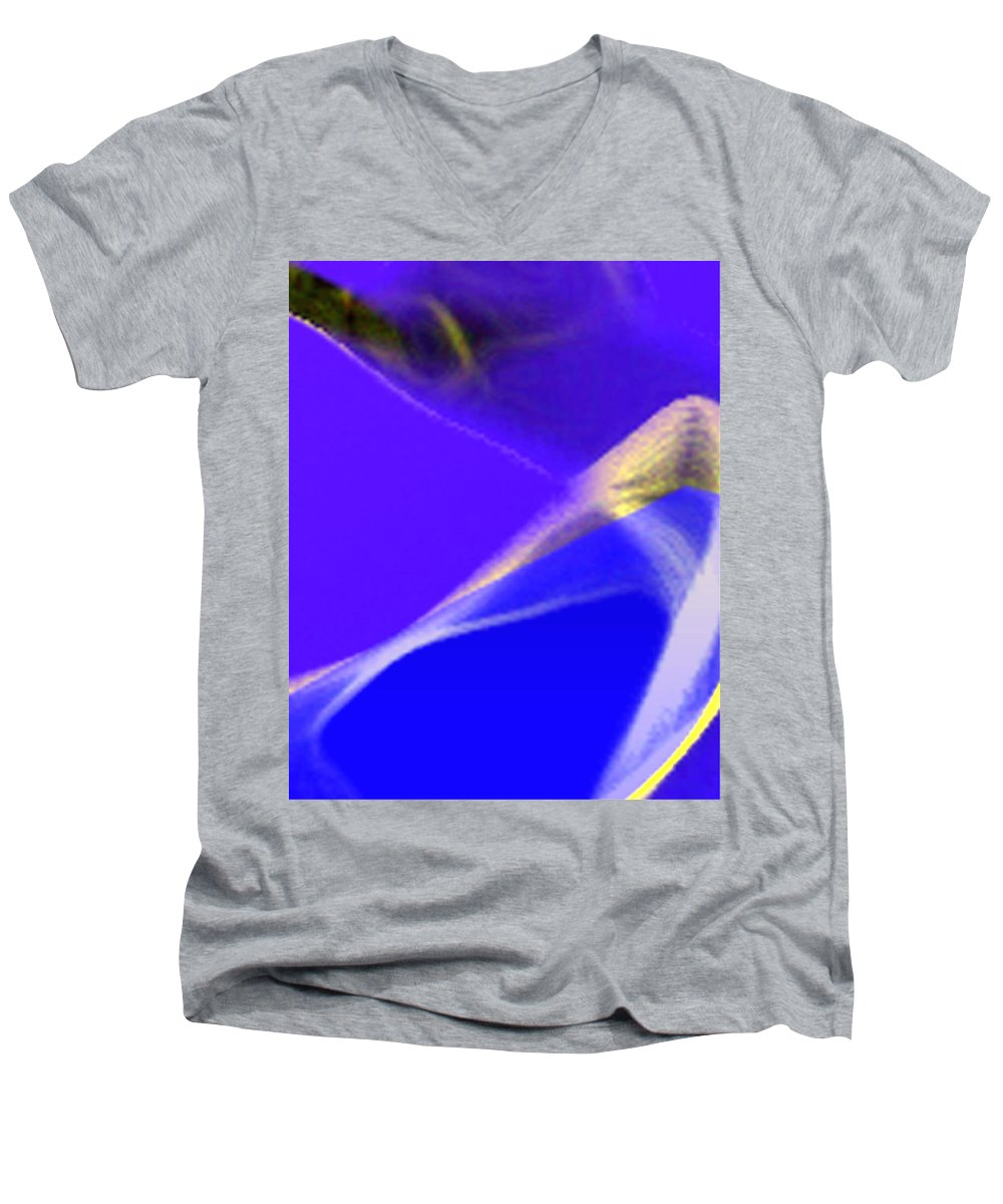Abstract Men's V-Neck T-Shirt featuring the digital art panel three from Movement in Blue by Steve Karol