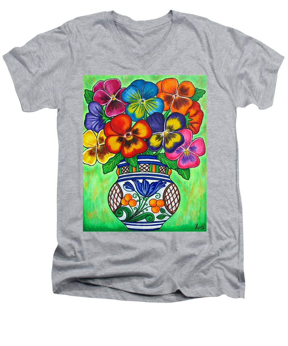 Flower Men's V-Neck T-Shirt featuring the painting Pansy Parade by Lisa Lorenz