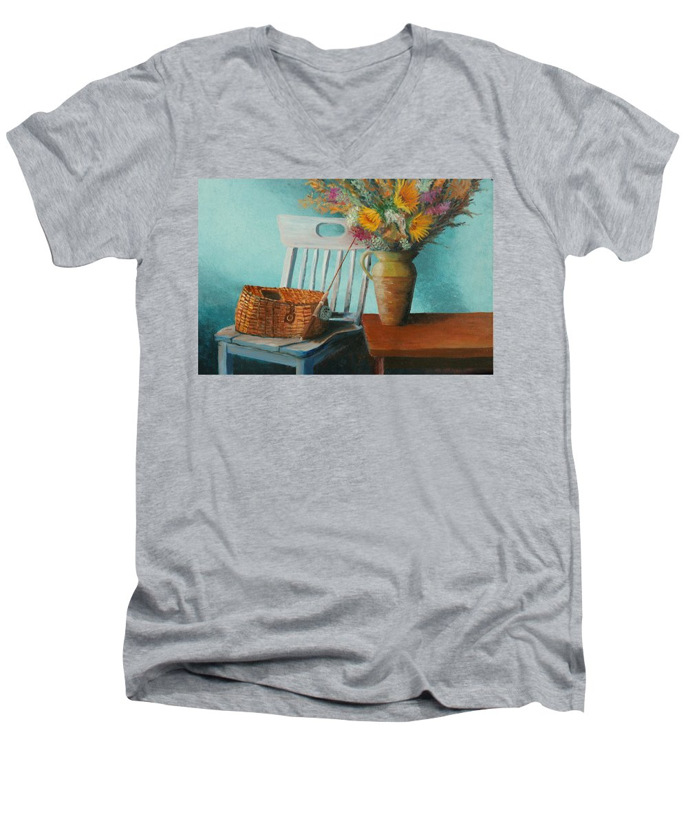 Floral Men's V-Neck T-Shirt featuring the painting Papa's Pole by Jerry McElroy