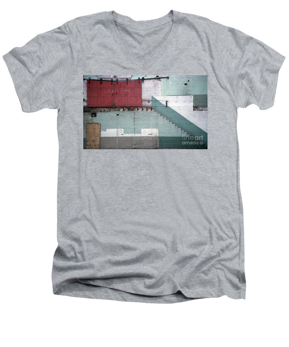 Abstract Men's V-Neck T-Shirt featuring the photograph Partial Demolition by Richard Rizzo