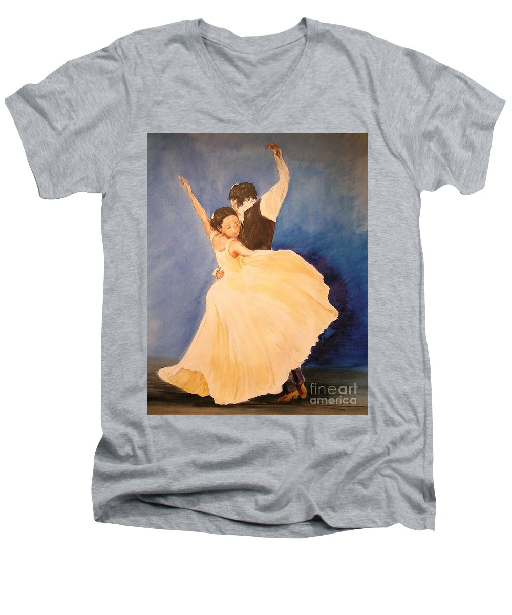 Spain Men's V-Neck T-Shirt featuring the painting Pasion Gitana by Lizzy Forrester