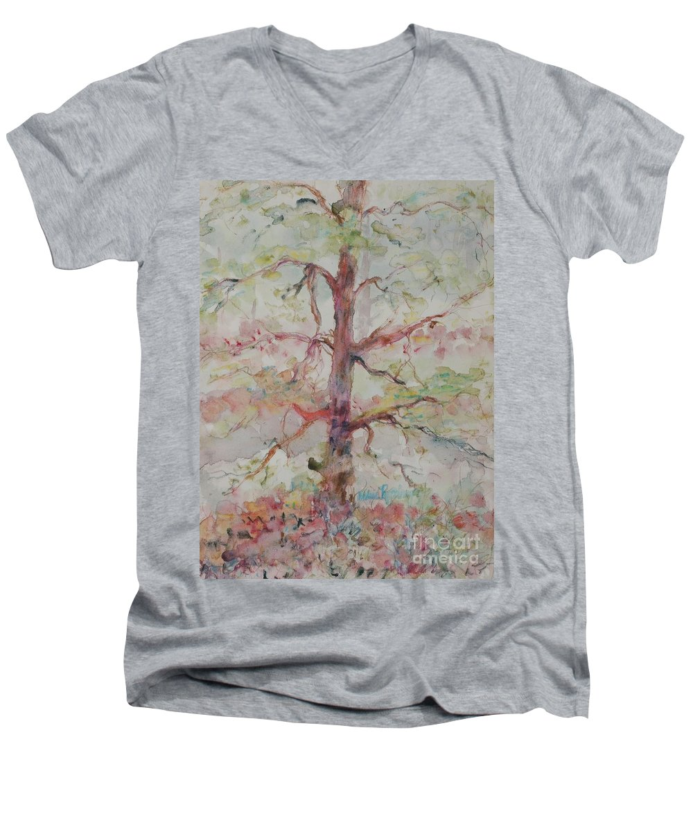 Forest Men's V-Neck T-Shirt featuring the painting Pastel Forest by Nadine Rippelmeyer