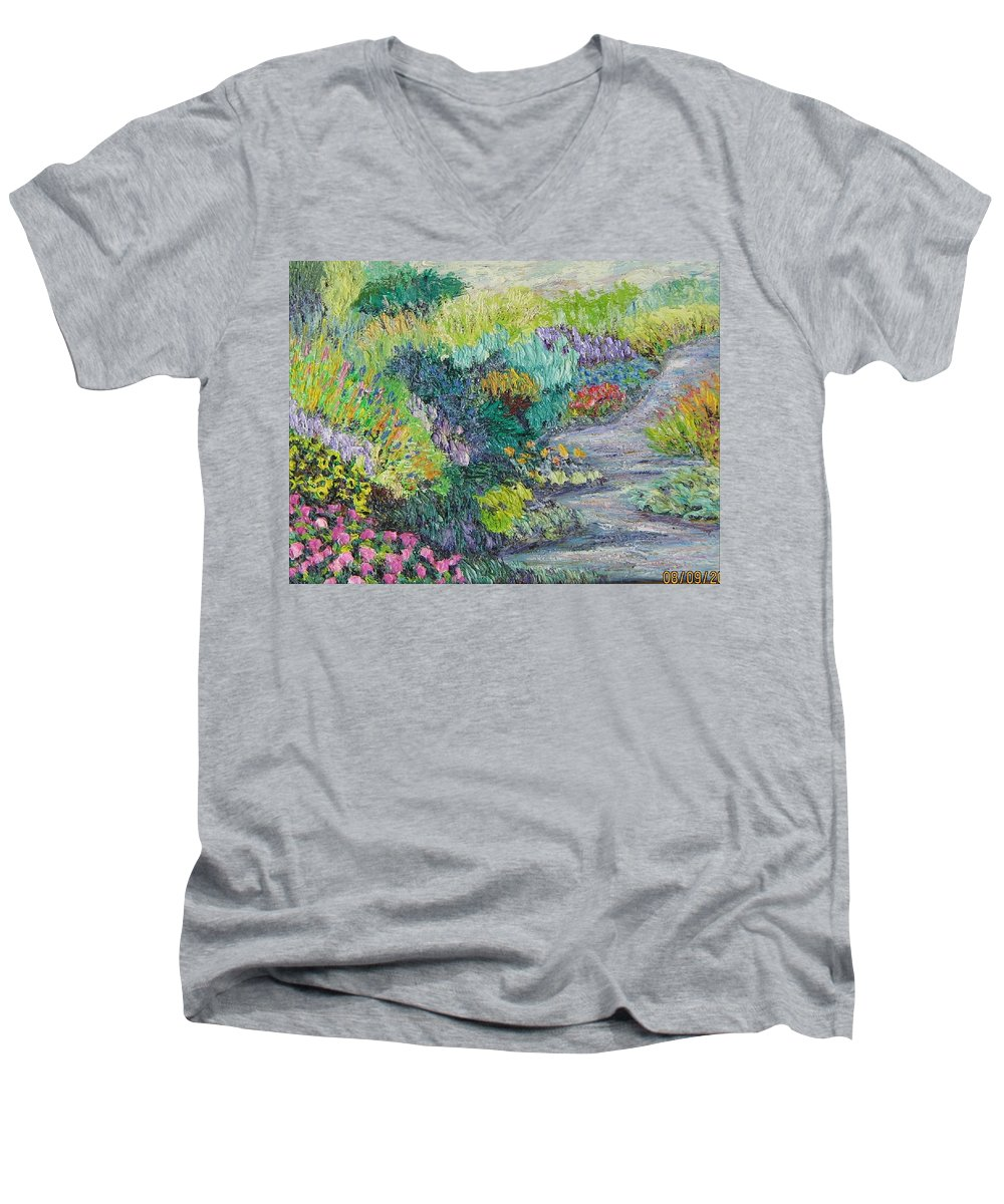 Flowers Men's V-Neck T-Shirt featuring the painting Pathway Of Flowers by Richard Nowak