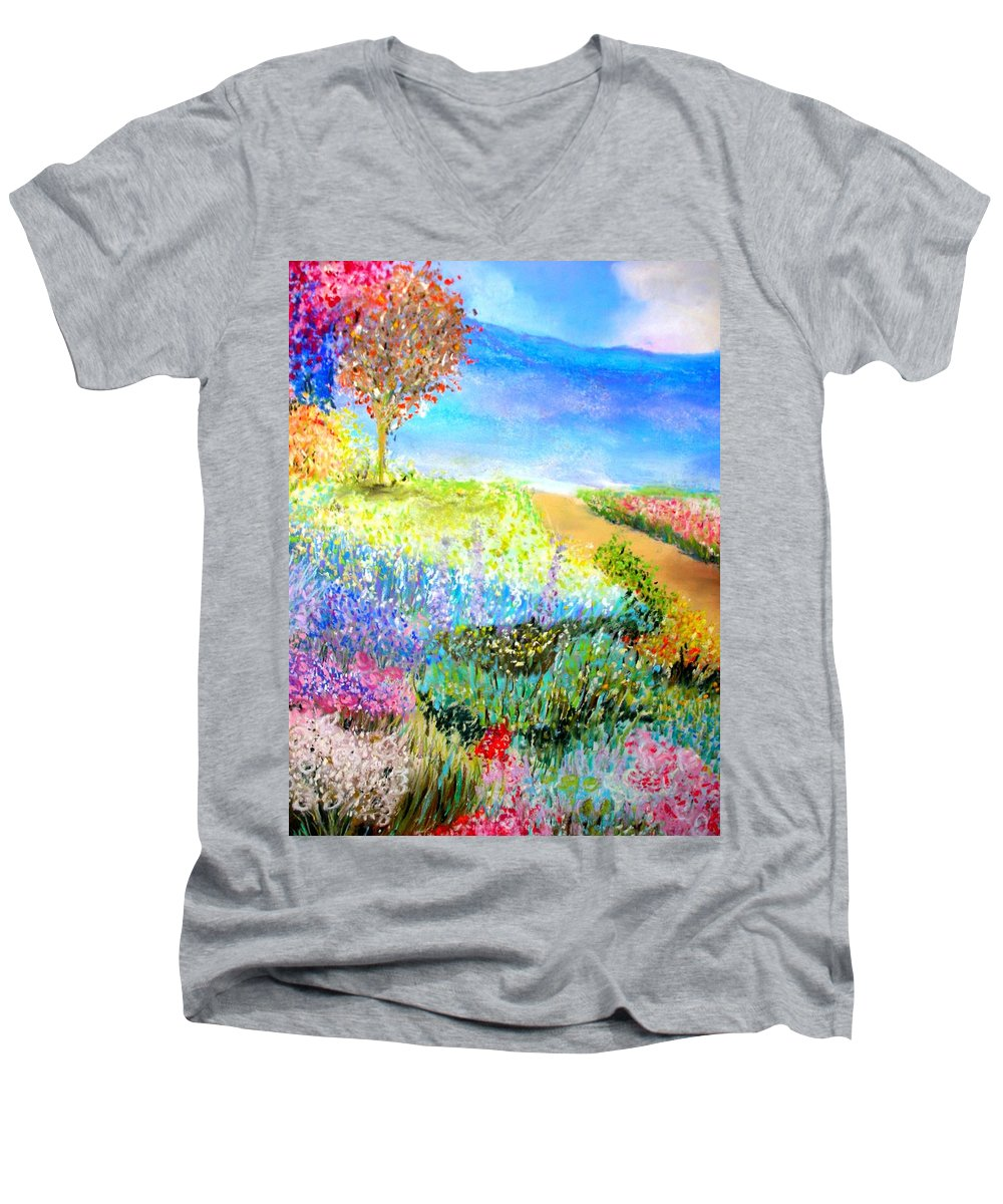Landscape Men's V-Neck T-Shirt featuring the print Patricia's Pathway by Melinda Etzold