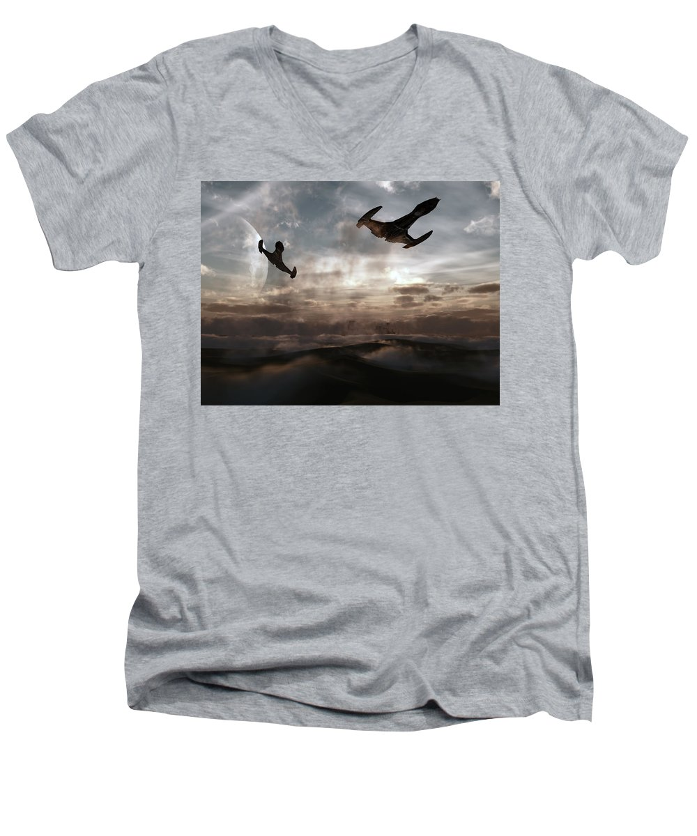 Sci-fi Men's V-Neck T-Shirt featuring the digital art Patrol Of Sector 9 by Richard Rizzo