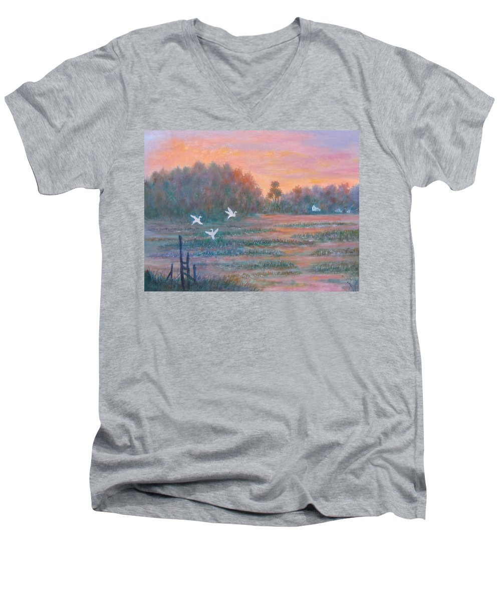 Low Country; Egrets; Sunset Men's V-Neck T-Shirt featuring the painting Pawleys Island by Ben Kiger