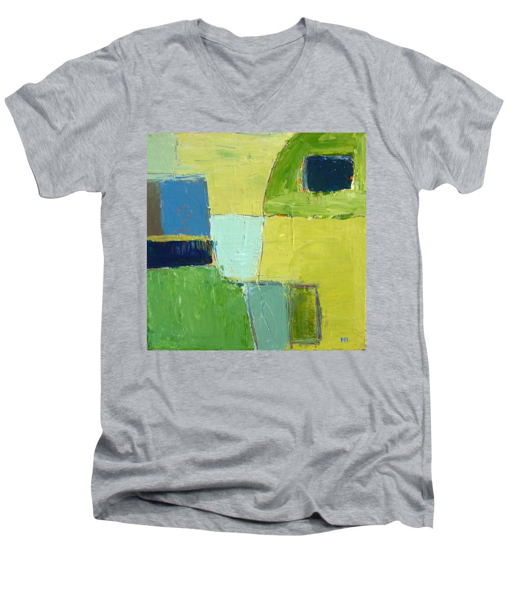 Abstract Men's V-Neck T-Shirt featuring the painting Peace 1 by Habib Ayat