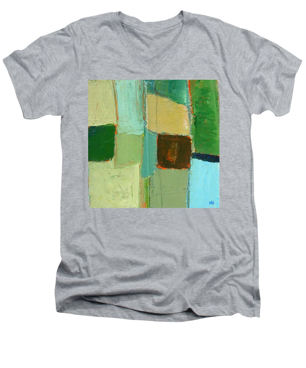 Men's V-Neck T-Shirt featuring the painting Peace 2 by Habib Ayat