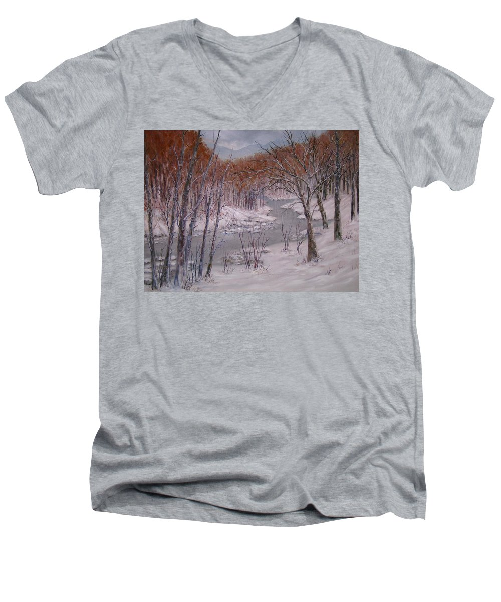 Peace Project Men's V-Neck T-Shirt featuring the painting Peace And Quiet by Ben Kiger