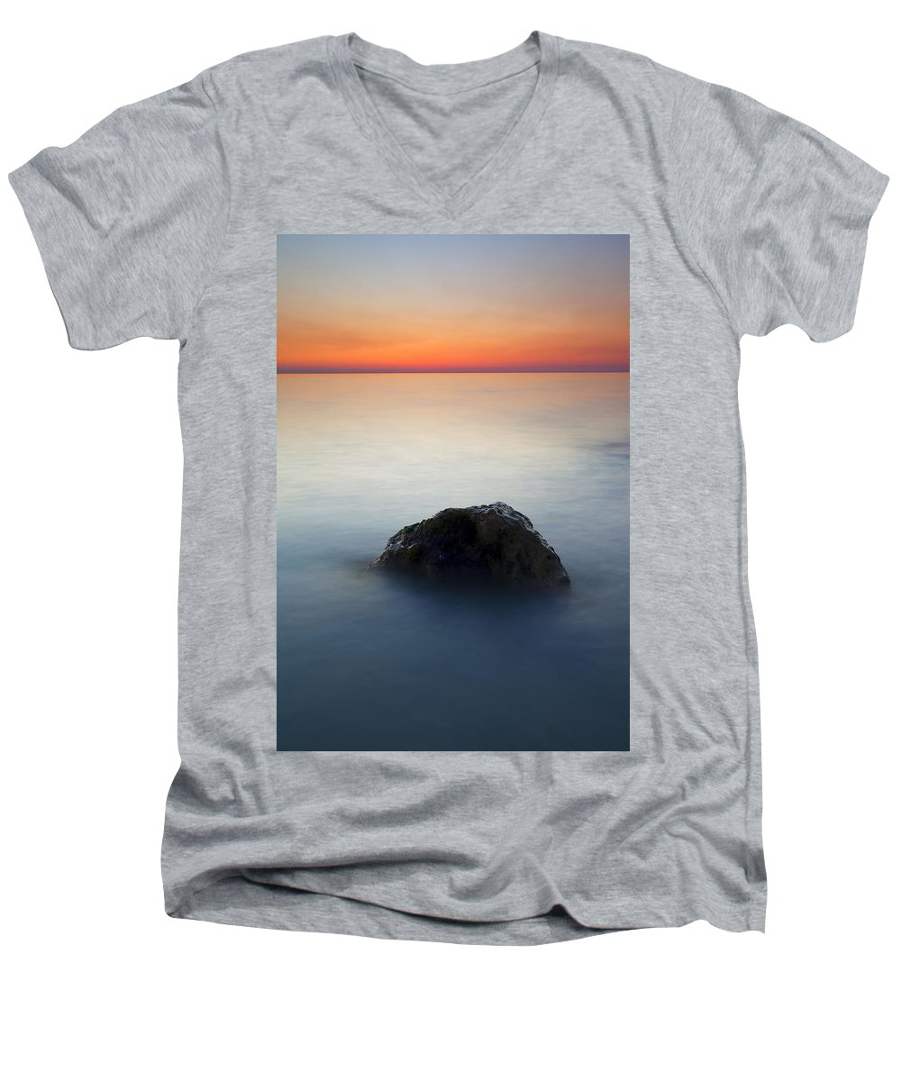 Rock Men's V-Neck T-Shirt featuring the photograph Peaceful Isolation by Mike Dawson