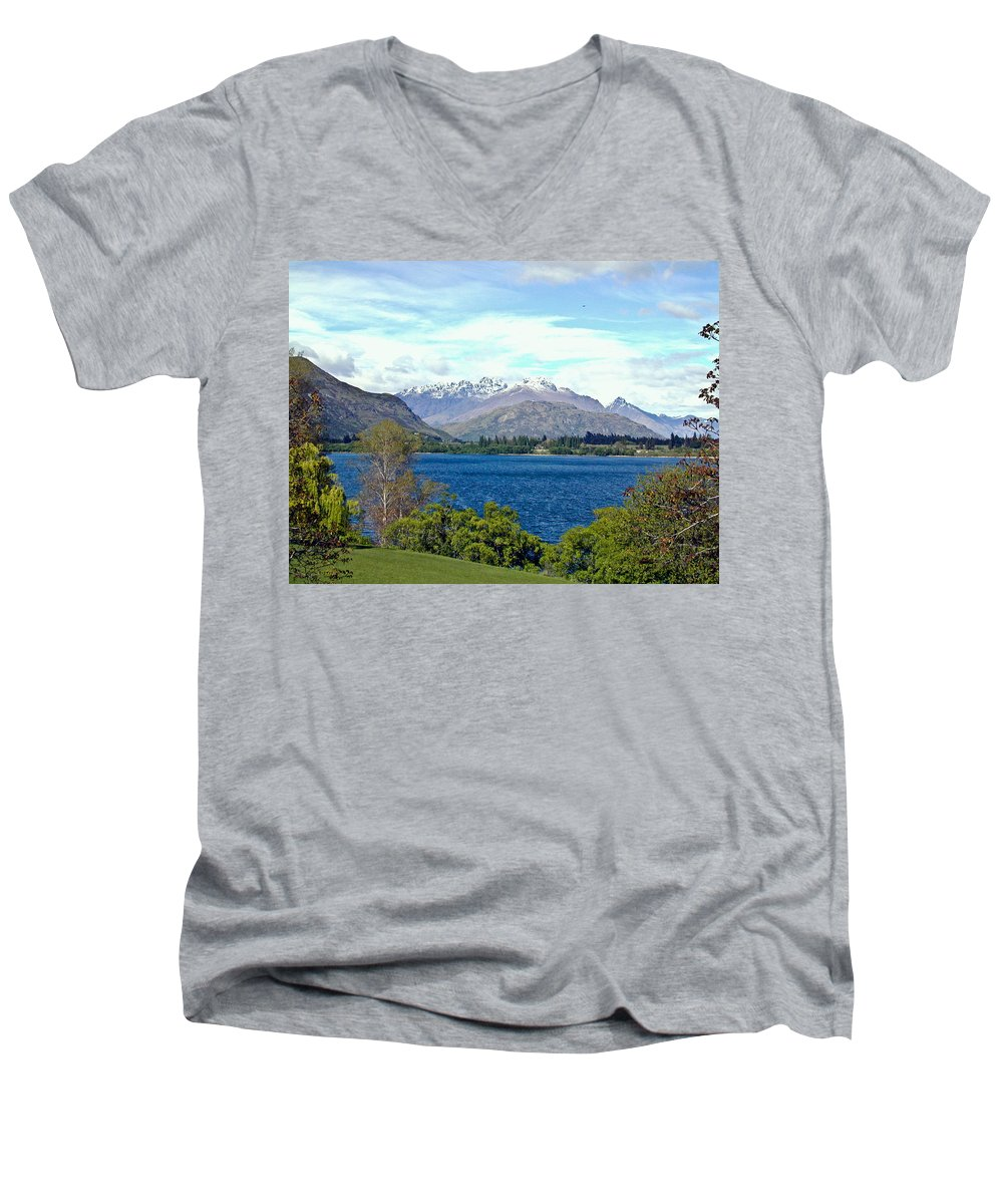 Lake Men's V-Neck T-Shirt featuring the photograph Peaceful Lake -- New Zealand by Douglas Barnett