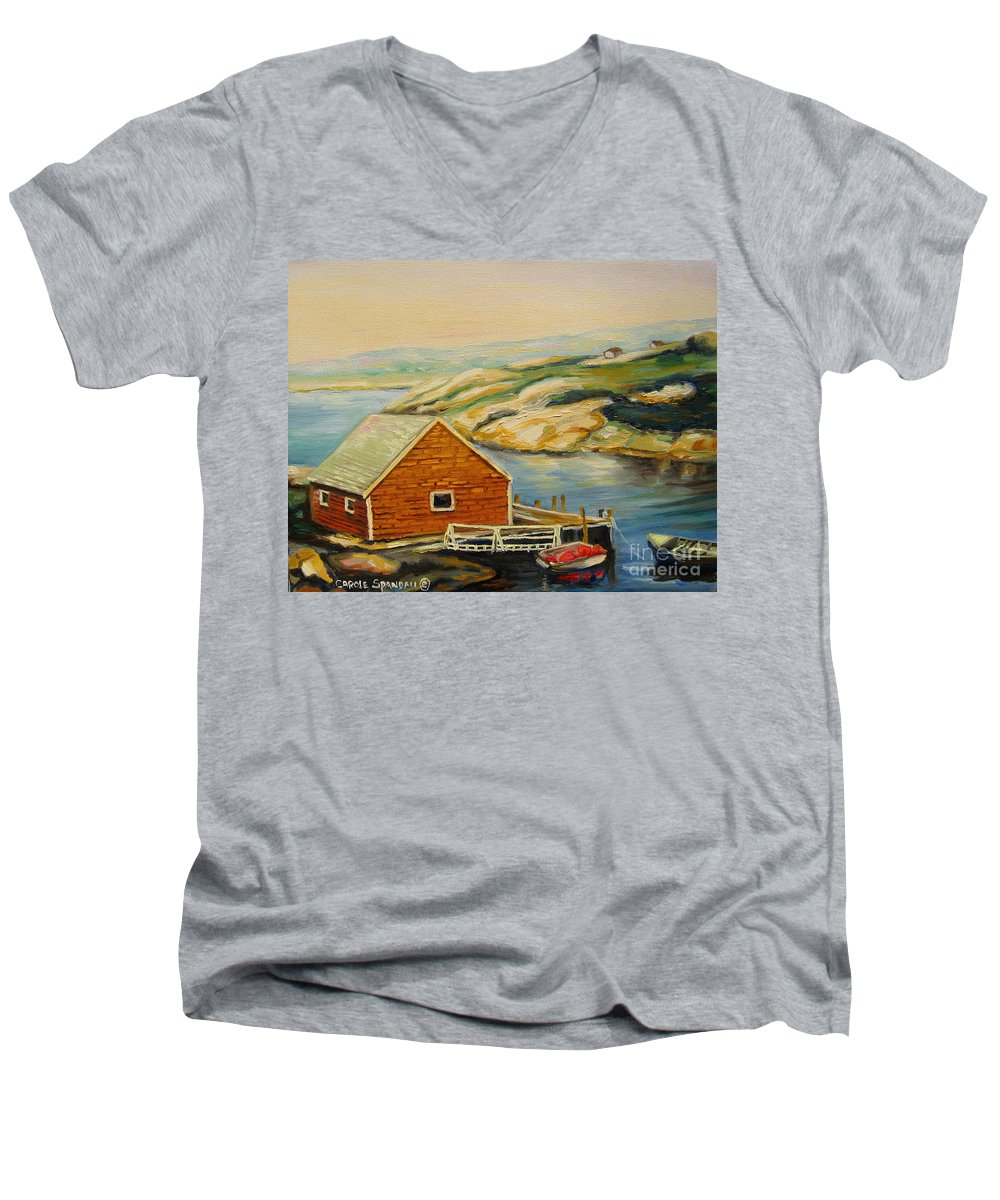 Peggy's Cove Harbor View Men's V-Neck T-Shirt featuring the painting Peggys Cove Harbor View by Carole Spandau