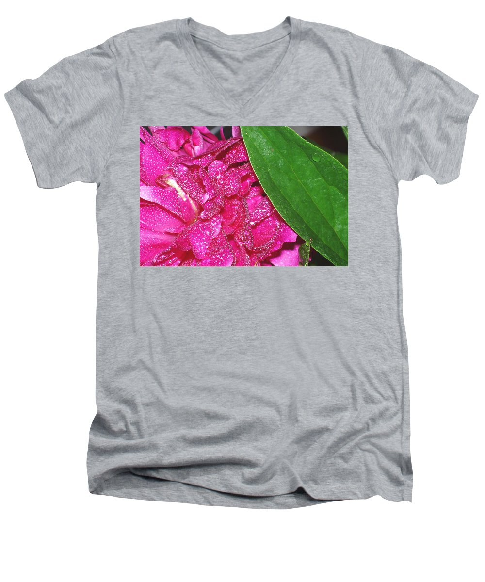 Peony Men's V-Neck T-Shirt featuring the photograph Peony And Leaf by Nancy Mueller