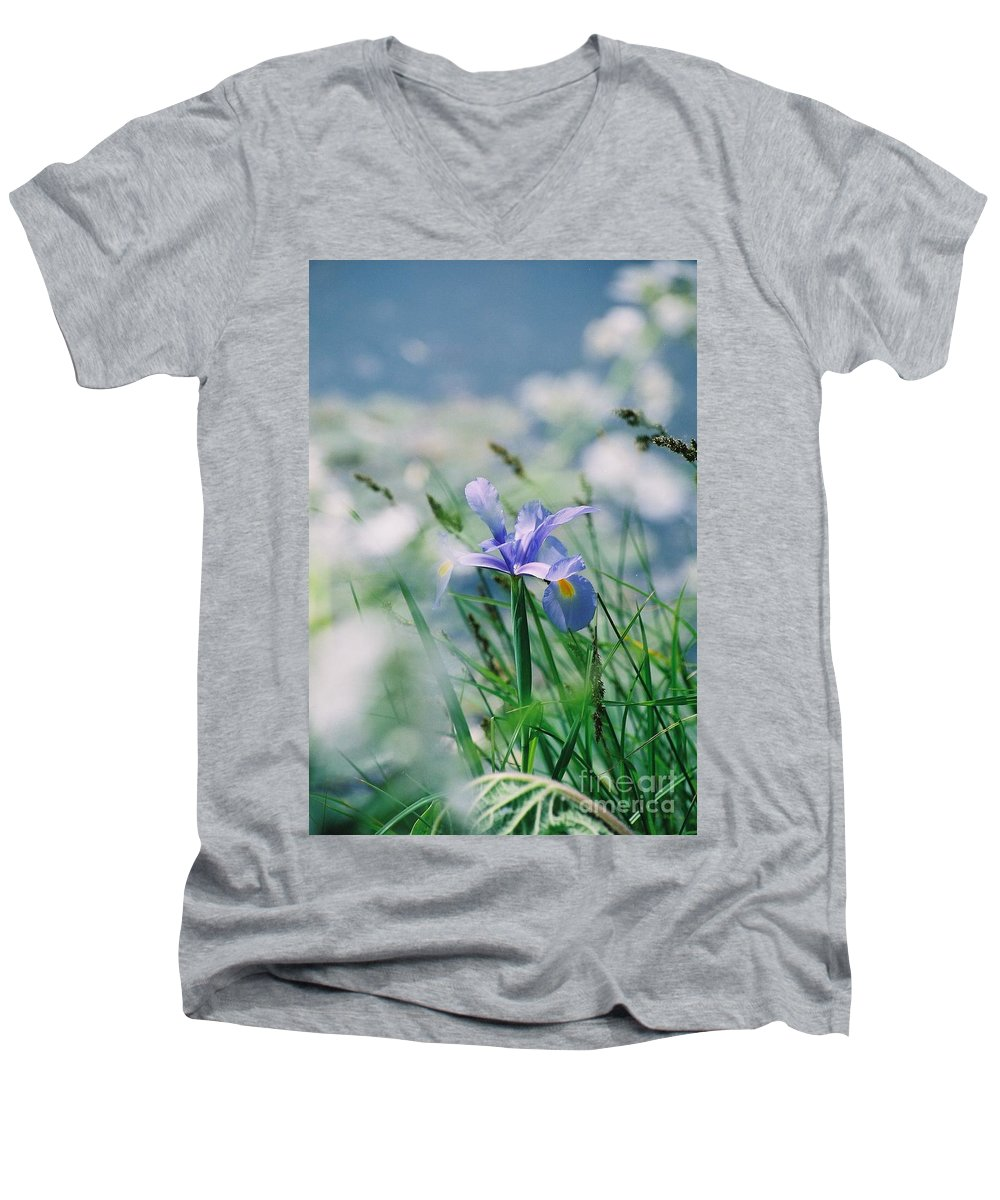 Periwinkle Men's V-Neck T-Shirt featuring the photograph Periwinkle Iris by Nadine Rippelmeyer