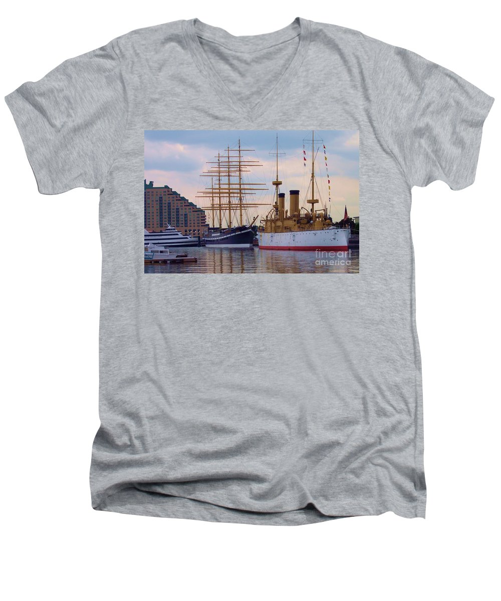 Philadelphia Men's V-Neck T-Shirt featuring the photograph Philadelphia Waterfront Olympia by Debbi Granruth