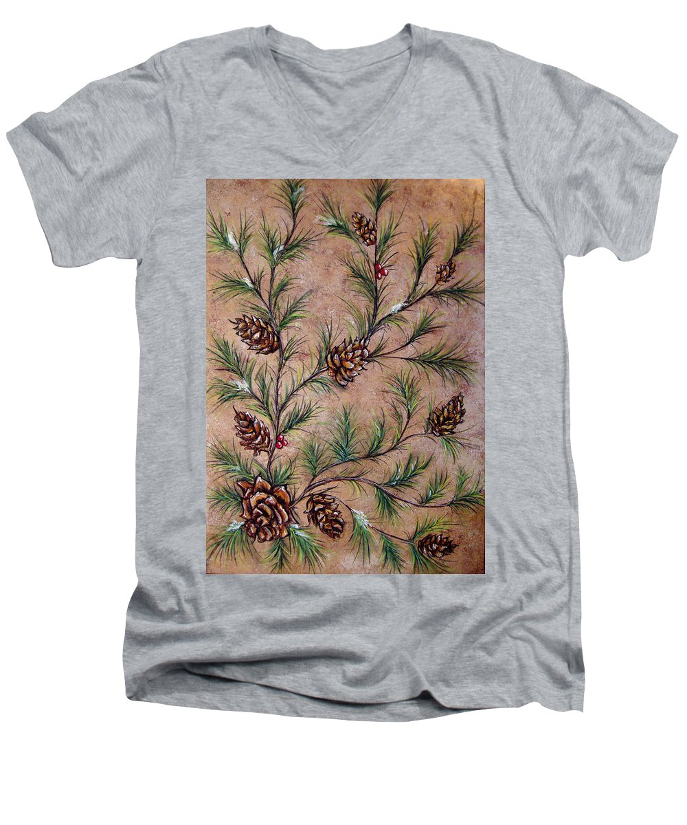 Acrylic Men's V-Neck T-Shirt featuring the painting Pine Cones And Spruce Branches by Nancy Mueller