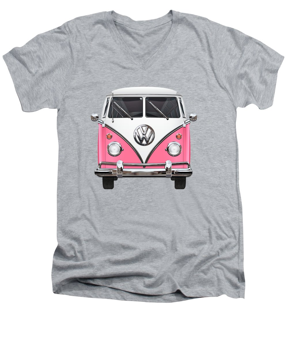'volkswagen Type 2' Collection By Serge Averbukh Men's V-Neck T-Shirt featuring the photograph Pink And White Volkswagen T 1 Samba Bus On Yellow by Serge Averbukh