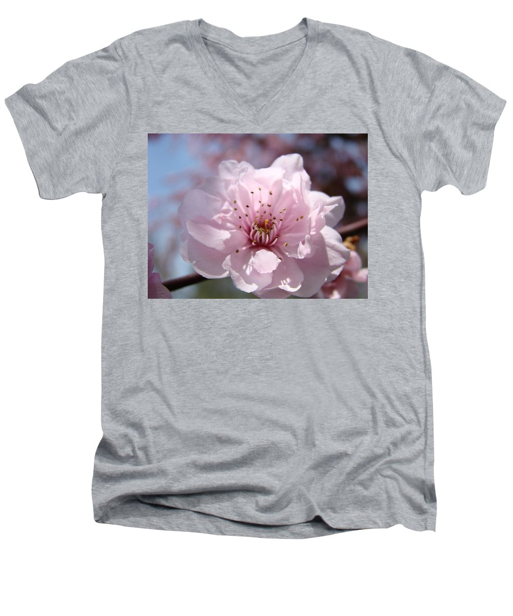�blossoms Artwork� Men's V-Neck T-Shirt featuring the photograph Pink Blossom Nature Art Prints 34 Tree Blossoms Spring Nature Art by Baslee Troutman