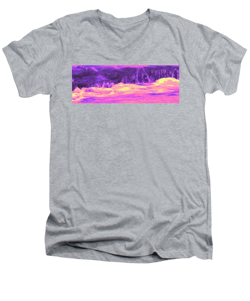 Seascape Men's V-Neck T-Shirt featuring the photograph Pink Tidal Pool by Ian MacDonald