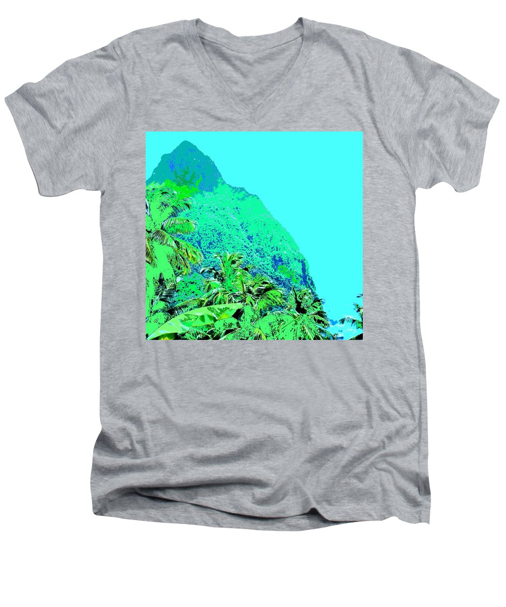 Pitons Men's V-Neck T-Shirt featuring the photograph Pitons by Ian MacDonald