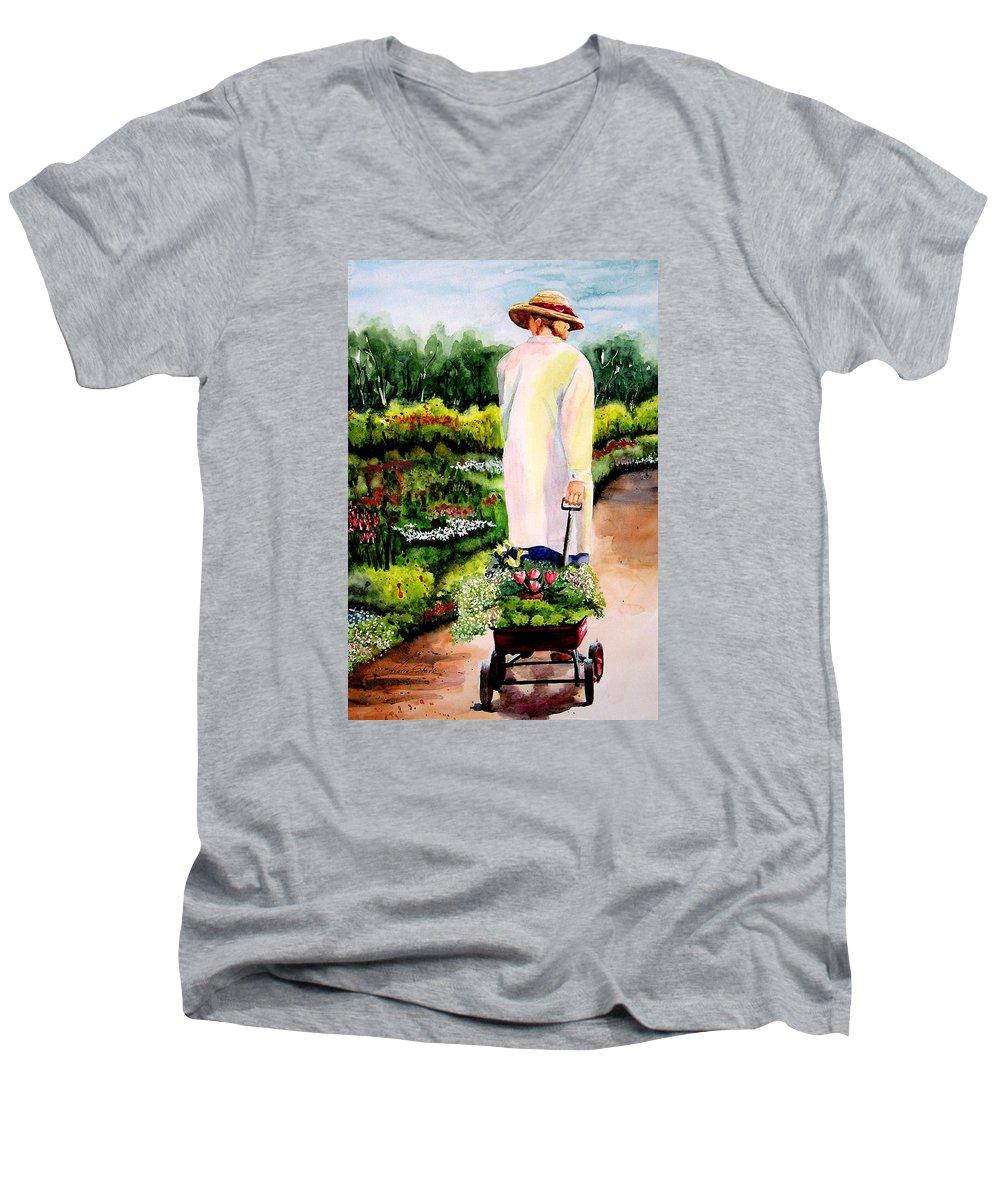 Garden Men's V-Neck T-Shirt featuring the painting Planting Plans by Karen Stark