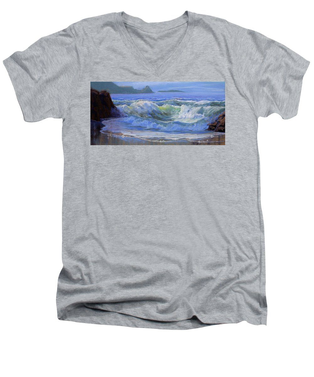 Seascape Men's V-Neck T-Shirt featuring the painting Point Reyes by Heather Coen