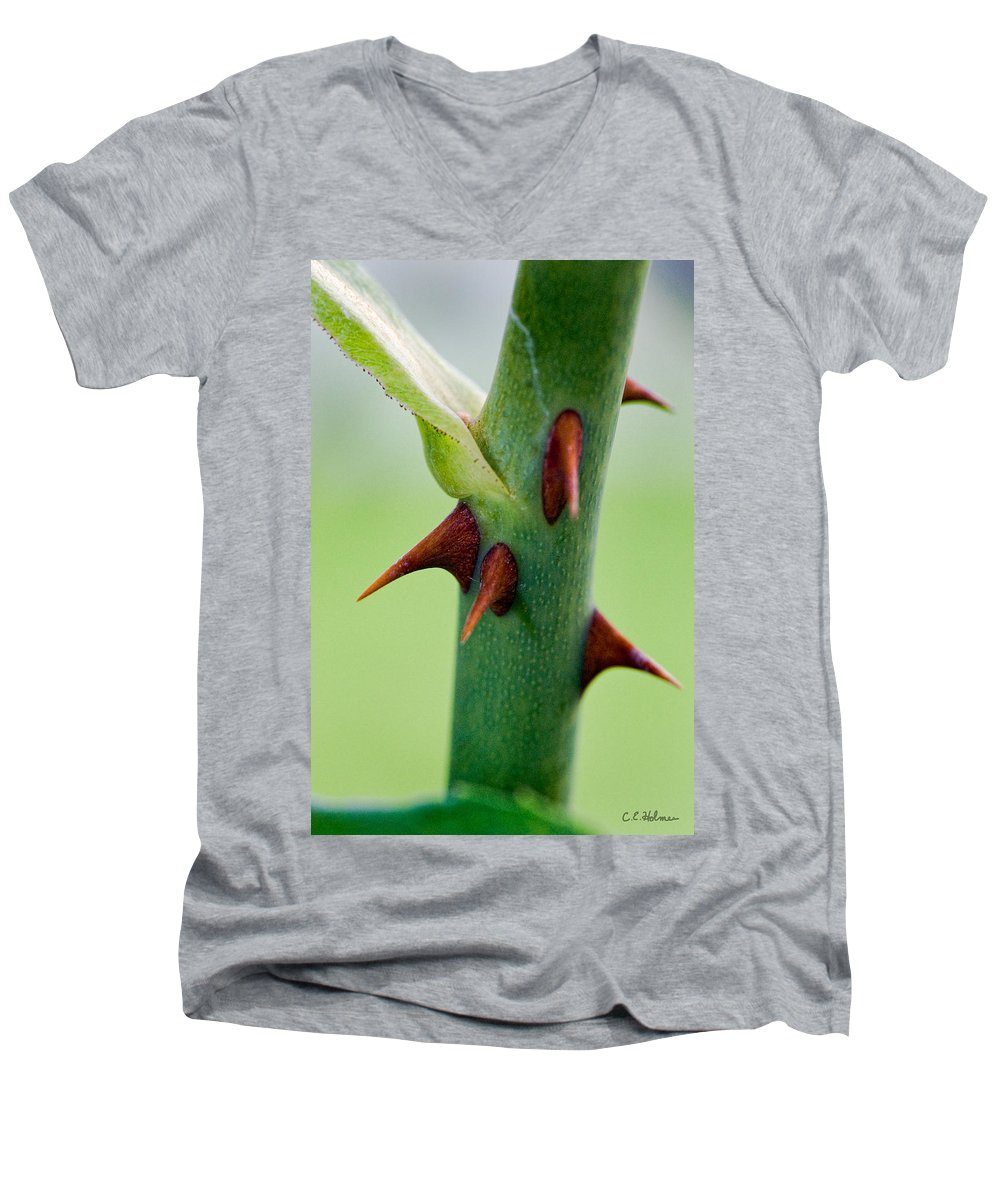Thorns Men's V-Neck T-Shirt featuring the photograph Pointed Personality by Christopher Holmes