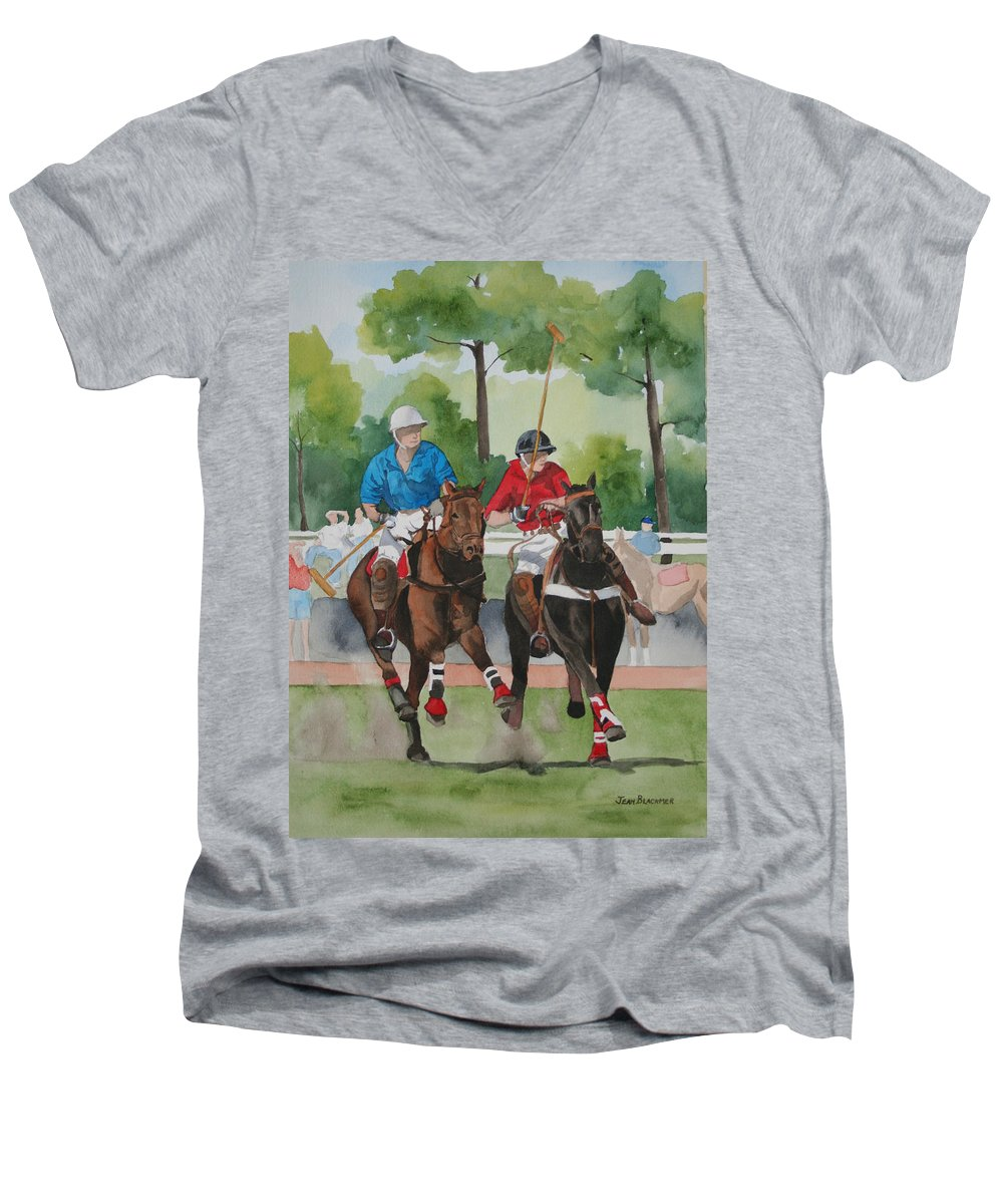 Polo Men's V-Neck T-Shirt featuring the painting Polo In The Afternoon 2 by Jean Blackmer