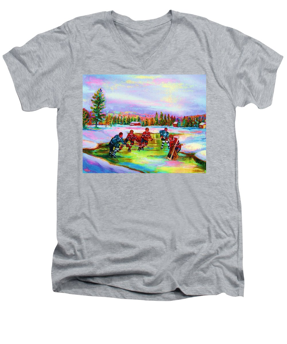 Hockey Men's V-Neck T-Shirt featuring the painting Pond Hockey Blue Skies by Carole Spandau