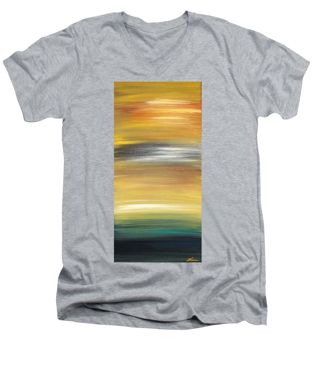 Waves Men's V-Neck T-Shirt featuring the painting Pond by Todd Hoover