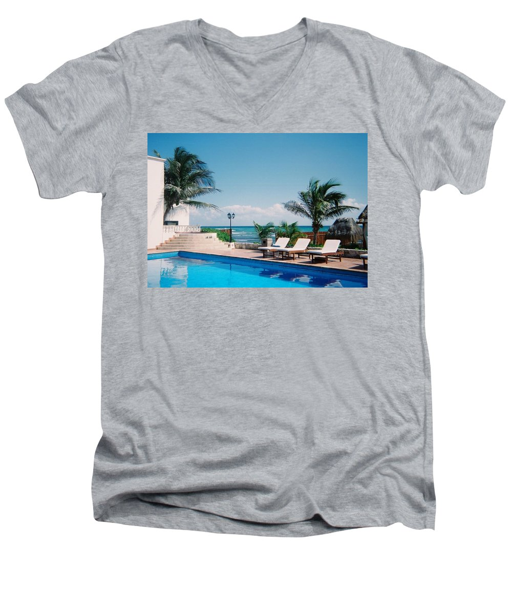 Resort Men's V-Neck T-Shirt featuring the photograph Poolside by Anita Burgermeister