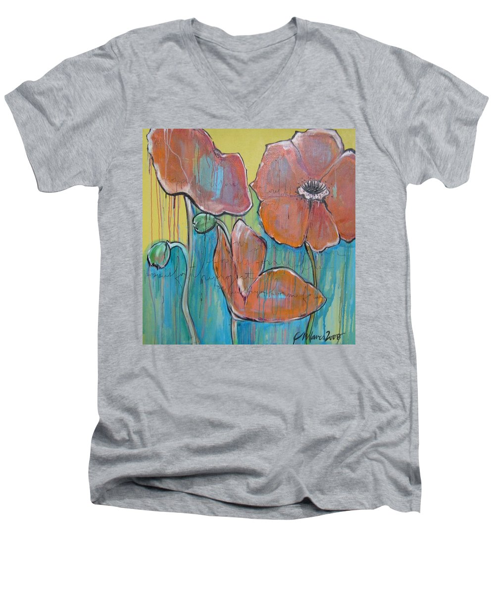 Pop Art Men's V-Neck T-Shirt featuring the painting Poppies 3 by Laurie Maves ART